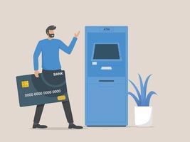 cliente hombre parado cerca de un cajero automático y sosteniendo una tarjeta de crédito vector