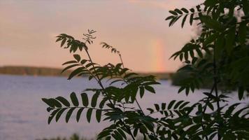 vista panorámica de un paisaje de lago y un arco iris. video