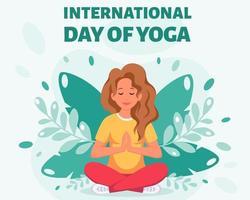 Woman meditating in lotus pose. International day of yoga vector