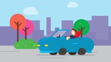 animação plana dos desenhos animados, um homem dirigindo um carro na estrada. video