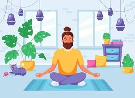 Man meditating in lotus pose in cozy modern interior. Healthy lifestyle, home activity. Vector illustration
