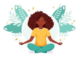 African american woman meditating in lotus position. Healthy lifestyle, yoga, relax. vector