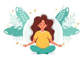 Pregnant woman meditating in lotus pose. Healthy pregnancy concept vector