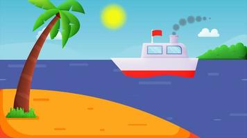 Animation of white steam ship on the blue sea with the background of sky with clouds, sun rays and an island. video