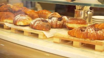 Pastries croissants in a cafe in Italy, Europe. video
