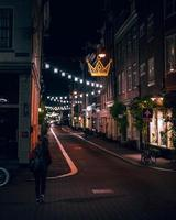 Amsterdam, Netherlands 2018- City lights at night in Amsterdam photo