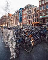 Amsterdam, Netherlands 2018- Bicycles parked in Amsterdam photo