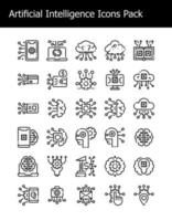 set of artificial intelligence technology icons pack simple line vector