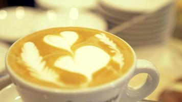 Heart design in coffee espresso, cappuccino in a cafe in Italy, Europe. video