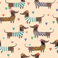 Seamless pattern with dachshunds in summer dress with hearts Vector illustration