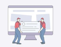 Technical support website maintenance website maintenance services concept Pair of servicemen or repairmen holding and carrying tools against computer monitor vector