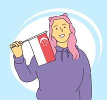 August 9 Singapore national day concept Happy young girl holding Singapore flag vector illustration