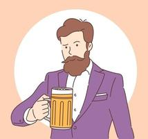 National Beer Day Joyful man with a beard in suit holding a mug of beer Flat vector illustration
