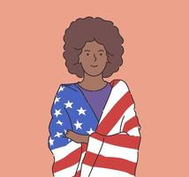 4th of July Independence Day freedom democracy concept Happy young african american woman wrapped in USA flag Flat vector illustration