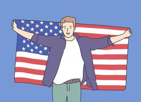 4th of July Independence Day freedom democracy concept Young excited happy man holds a big USA flag and celebrating Flat vector illustration