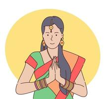 Teej festival celebration concept Traditional Indian woman holding hands in prayer position vector illustration