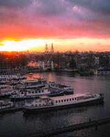 Amsterdam, Netherlands 2018- Skyline cityscape view of Amsterdam photo