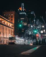 Salt Lake City, Utah 2020- Public transportation at night in Salt Lake City photo