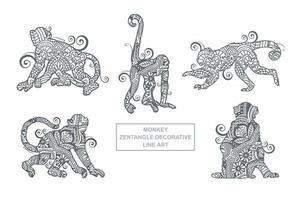 Monkey Mandala Vector. Vintage decorative elements. Oriental pattern, vector illustration.
