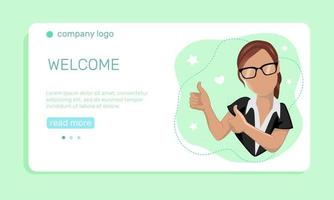 Marketing concept. A young  woman with thumbs up gesture on light green background.  Landing page template. Vector illustration in flat style.