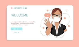 Health care or medicine concept. A young  girl in medical face mask  waving hand, greeting people.  Landing page template. Vector illustration in flat style.