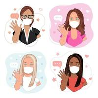Health care or medicine concept. Young women of different races in facial medicine masks waving hands,  greeting people. Cartoon female characters with welcoming gesture in vector illustration.