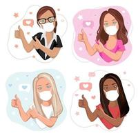 Health care or medicine concept. Young women of different races in facial medicine masks with thumbs up gesture. Cartoon female characters set, vector illustration.