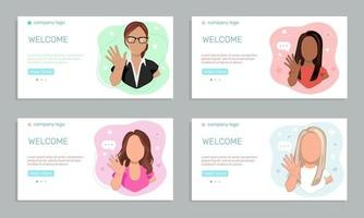 Marketing concept.  A set of four templates featuring young women  waving hands greeting people. vector