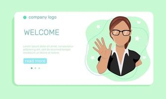Marketing concept. A young  woman waving hand, greeting people.  Landing page template. Vector illustration in flat style.