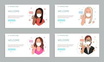 Health care or medicine concept. A set of four templates featuring young women in medical face masks waving hands greeting people. vector