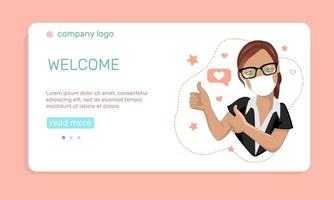 Health care or medicine concept. A young  woman in medical face mask  with thumbs up gesture.  Landing page template. Vector illustration in flat style.