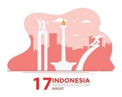 Indonesia Independence Day Jakarta Landmark Flat vector
