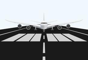 airplane on airport runway for take off, vector illustration