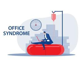 Businessman hard work with office syndrome health concept vector illustrator