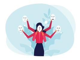 imposter syndrome woman trying on carnival masks with happy or sad expressions vector