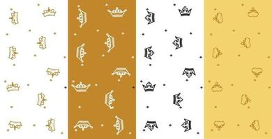 Crowns patterns set in golden design Vector