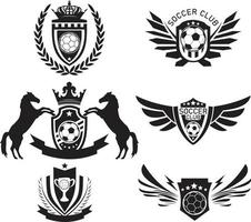 Soccer and football balls team or club flat labels and emblems vector
