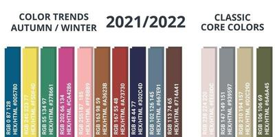 paleta de colores otoño invierno 2021-2022 rgb vector