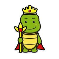 Cute king turtle mascot character holding staff cartoon vector icon illustration