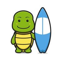 Cute turtle mascot character holding swimming board cartoon vector icon illustration