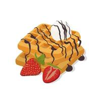 Belgium waffle with ice cream and strawberry isolated on the white background, vector illustration