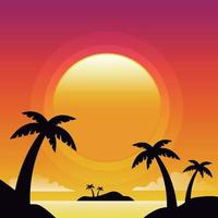 Sunset silhouette islands background vector