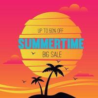 Summertime big sale beach background vector