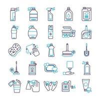 bundle of desinfectants set icons vector