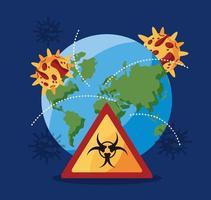 mundo planeta tierra con partículas covid 19 y señal de peligro biológico vector