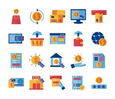 bundle of Payment online set icons vector