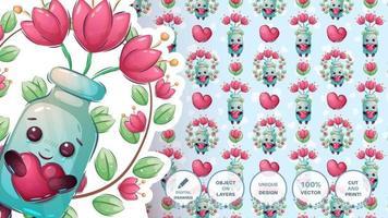 botella con corazón y flor vector