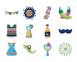 bundle of mexican set icons vector