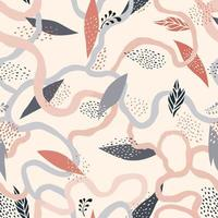 Abstract floral seamless pattern. Leaves artistic drawn background. Flourish ornamental flowign lines backdrop. vector