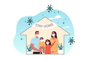 Family with children stays at home vector